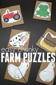 Easy chunk farm puzzles! A fun matching activity for toddlers and preschoolers during a farm unit!