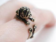 Ringe - Mops Ring ✮ größenverstellbar ✮ Hunde Bronze - ein Designerstück von…