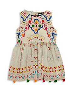 Hemant & Nandita - Toddler's, Little Girl's & Girl's Multi Pom Dress