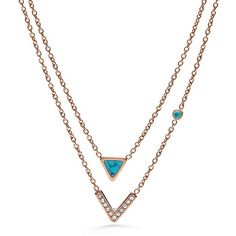 Fossil Turquoise Double-Strand Convertible Necklace ($68) ❤ liked on Polyvore featuring jewelry, necklaces, convertible jewelry, double strand necklace, rose gold tone jewelry, fossil jewelry and turquoise jewellery