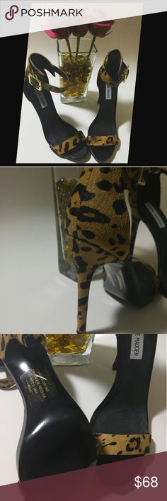 Steve Madden Marlene L Leopard Print Heels When in doubt, reach for MARLENE-L! Her array of fabulous shadesrendered in luxurious pony hair material and a versatile single strap open-toe styleish design makes this the piece for a cropped jeans or a dress ..#pickyourfleek# Brand new never worn...heels are just too high for me but in love with these chic heels..looking a new closet💃💃💃🏠 Offers welcome on these dolls.. Steve Madden Shoes Heels