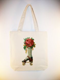 Steampunk Rollerskate with Roses Vintage lllustration on 15x15 Canvas Tote - Larger Zipper Top Tote Style and Personalization available