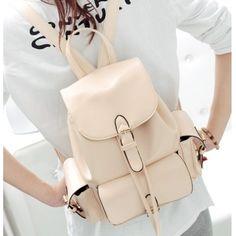 USD12.49Fashion Girls Solid Beige Leather Backpack String School Bag