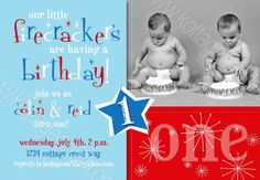 SALE - Little Firecracker Twins or Joint Party - Any Age - 4th of July Birthday - Printable Invitation - Digital Photo Card for Boy or Girl Super cute red, white, and blue colors to fit your theme.  Works great for a combined party for two children or twins.  Get it at www.kottageon5th.etsy.com