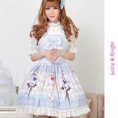 Blue and Pink Japanese Anime Girl Printing Sweet Lolita JSK Dress Tea Party Dress