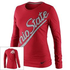 Nike Ohio State Buckeyes Ladies Angled Script Long Sleeve Tri-Blend T-Shirt - Scarlet XL please =) Nike Ohio State, Ohio State University, Ohio State Football, Ohio State Buckeyes, College Football, Ncaa Apparel, Long Sleeve Tee Shirts, Athletic Wear, Cool Outfits