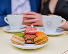Saturday morning treats -Pierre Hermé macarons- are perfect for celebrating your Paris engagement! #parisphotographer #parisengagement #photographerinparis  www.theparisphotographer.com Macarons, Paris, Girls Best Friend, Treats, Engagement Rings, Breakfast, Food, Sweet Like Candy, Enagement Rings