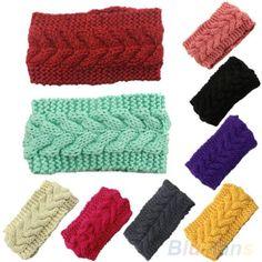 Women Winter Ear Warmer Headwrap Wide Crochet Headband Knit Flower Hairband