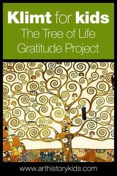 Gustav Klimt for Kids – The Tree of Life Gratitude Project — Art History Kids - Gustav Klimt for Kids – The Tree of Life Art History Project Idea - Art History Projects For Kids, Art History Lessons, History For Kids, Art Lessons, Art Projects, Tree Of Life Art, Tree Art, Klimt Art, Collaborative Art