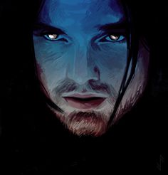 Bucky Barnes the Winter Soldier Blue Profile with Golden Eyes