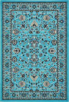 Turquoise Kashan Design Area Rug