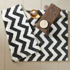 bath mat for the black and white master bath