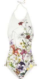 GucciFloral-print backless swimsuit