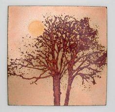 Tree Panel, 100 x 100mm. Vitreous enamel on copper carol griffin