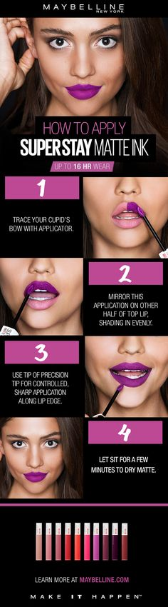 Our long lasting matte liquid lipstick is here! NEW Maybelline Super Stay Matte Ink gives you a flawless matte finish in a range of super saturated shades. Get up to a 16 hour wear with a comfortable matte finish that will last through your entire day. To apply, first trace your cupid's bow with the arrow applicator.  Mirror this application on other half the top lip. Use tip of arrow top for controlled, sharp application along lip edge.  Apply only one thin application all over lips and let…
