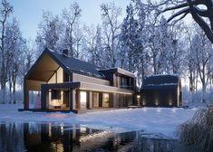 MODERN BLACK WINTER HOUSE (vis. for lk-projekt.pl) on Behance