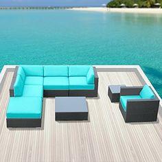 Luxxella Outdoor Sofa Set Beruni 8 Pcs Modern Turquoise Set Furniture All Weather Wicker Sofa Set Luxxella http://www.amazon.com/dp/B00R3MZJAE/ref=cm_sw_r_pi_dp_.ozpvb18QJRAQ