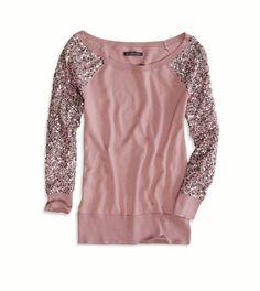 Sequin Sleeve Crew Sweater