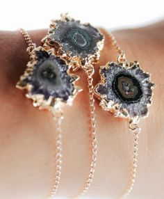 Beautiful Agate stalactite slice bracelets on gold plated silver chains.