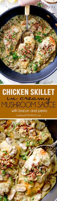 LIGHTER 30 Minute Chicken in Creamy Mushroom Sauce with Bacon and Pesto is one of the easiest yet most delicious chicken dinners you will ever make! Love it alone or with pasta, rice or potatoes, etc.
