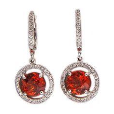 Vintage 4.01ct Spessartite Orange Garnet 18k White Gold Diamond Dangle Earrings - petersuchyjewelers