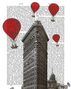 Flat Iron Building and Vintage Hot Air Balloons Art Print, wall art wall decor, vintage dictionary page art, new york print