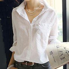 Turn Down Collar Basic Shirt