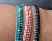 Loom beaded bracelet with waxed cord
