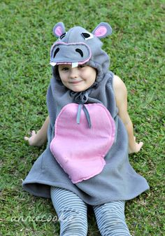 Anniecookie: a hippo costume Pink with grey accents. Use a Pink Fleece Hoodie and add ears, eyes and nose with teeth.