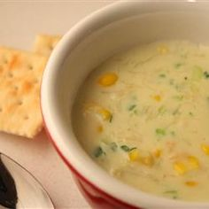 Crabmeat and Corn Soup. I added an extra can of sweet cream corn. It was yummy!