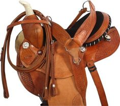Natural Barrel Racing Western Horse Saddle Tack Package 14-17 by SaddleOnline. $349.99. For Horses: Saddles & Accessories, Western Saddles. $499.99 SALE! $349.99   Save $150.00   These saddle may have some minor cosmetic imperfections due to handling. Brand new saddles never been on a horse. This natural, functional barrel saddle offers a solid basic design and classic features that are sure to please. The deep padded suede seat, leather wrapped padded stirrups, basket wea...