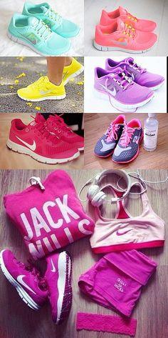 ♥ Running. My favorite sneakers $48 Nike Free 5.0 running sneakers  I want, I want, I want!!!!!!! I'll get them for my birthday!! #discount #nike #frees ♥