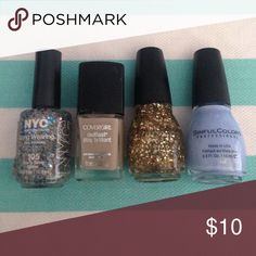 4 new never used nail polish! 🎀 selling as a set Open to trades for anything Nail polish Makeup