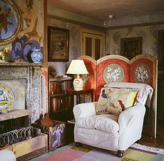 Charleston, the country home of the writers, painters and intellectuals known as the Bloomsbury group. Decorated by Vanessa Bell and Duncan Grant