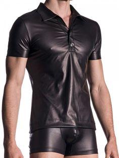 MANSTORE M510: Polo Shirt, schwarz Men In Kilts, Kilt Men, Fetish Fashion, Latex Fashion, Poloshirt, Men's Undies, Plastic Pants, Boys Jeans, Leather Shorts