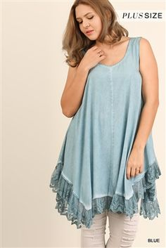 55adf7921a UMGEE Plus Dreamy Blue Sleeveless Trapeze Tunic. This Bohemian loose  fitting crystal washed tie dye effect baby doll dress has short sleeves