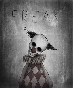 f r e a k by Xostie on deviantART Scary Drawings, Dark Art Drawings, Halloween Drawings, Art Drawings Sketches, Halloween Art, Scary Clown Drawing, Dark Art Illustrations, Illustration Art, Her Wallpaper
