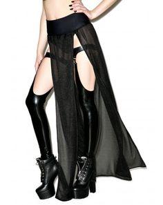 #DollsKill #lookbook #photoshoot #model #JValentine Right Thru Ya Dual #slit #maxi #skirt #black #sheer