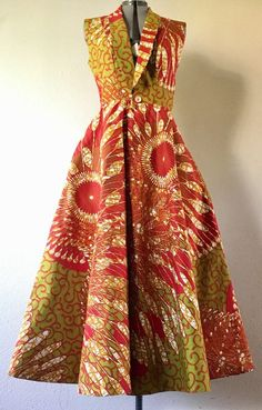 Lush and Gorgeous African Wax Print Vest Dress With Pockets African Fashion Designers, Latest African Fashion Dresses, African Print Dresses, African Dresses For Women, African Print Fashion, Africa Fashion, African Attire, African Wear, African Style