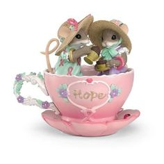 Charming Tails A Cup Of Hope Breast Cancer Charity Mouse Figurine by The Hamilton Collection