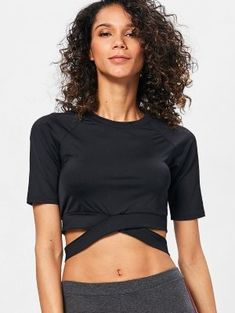 Run Yoga Crop Top - Black S