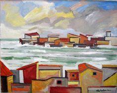 """Gianluca Madonia, 40x50 olio su tela, """"Paesino di mare in inverno"""""""