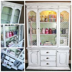 china cabinet turned craft storage - This would be perfect for my sewing area. I love the jars for storing ribbon, notions etc