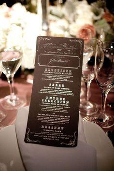 Ceci Wedding Menu - makes me envision speakeasy chic?
