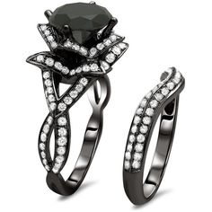 Noori 14kBlack Gold 3 3/5ct Black Round Diamond Lotus Flower Ring Set (10.985 BRL) ❤ liked on Polyvore featuring jewelry, rings, black, engagement rings, gold engagement rings, wedding band ring, diamond engagement rings and flower engagement ring