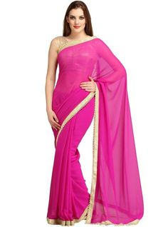 Deep Pink Colour Casual Wear Georgette Fancy Pearl Border Work Saree-11005