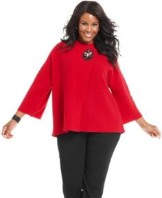 Jm Collection Plus Size Three-Quarter-Sleeve Broach Sweater
