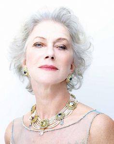 A high-key portrait of Helen Mirren
