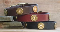 Leather Dog Collar / 1 wide / Brown Black Tan by BentRiverDesigns, $51.00