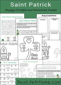 Saint Patrick themed 18-page printables and worksheets packet from RealLifeAtHome.com